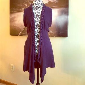Tops - Fylo purple knit open vest size Medium